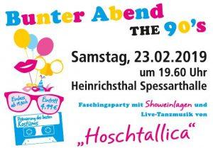 90er Jahre Faschings-Party KSV Heinrichsthal @ Spessarthalle